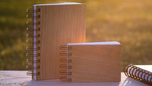 zápisník, denník, zošit drevený